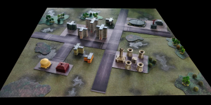 View of games table with battle mat parts (2)
