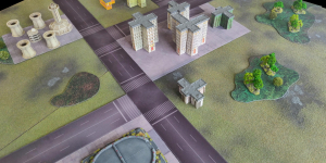 View of games table with battle mat parts (5)