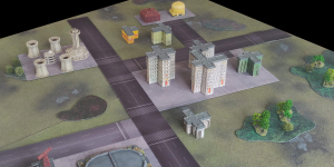 View of games table with battle mat parts (7)
